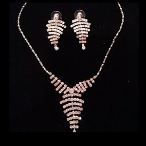 Rhinestone Drop Necklace and Earring Set